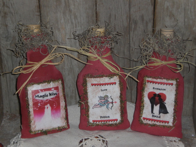primitive valentines day ornaments