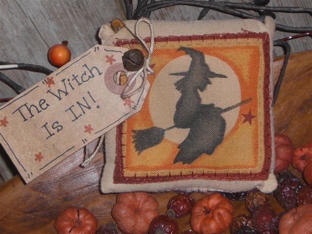 Primitive Halloween Witch Pillow Ornie