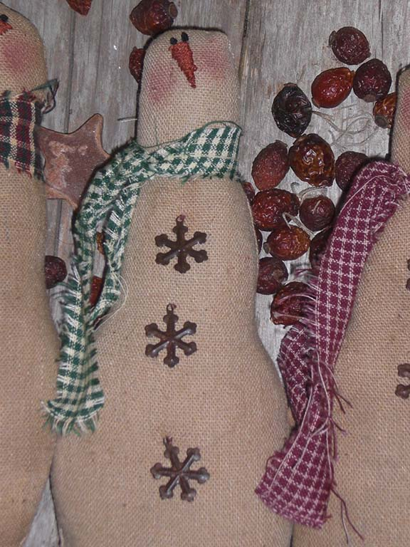 PrimitiveChristmasSnowman Primitive Christmas Ornies and Bowl Fillers