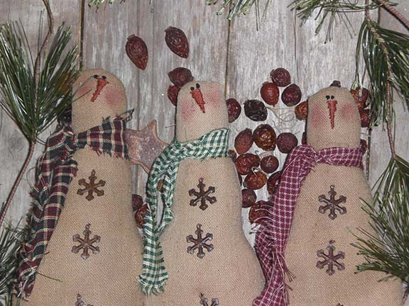 PrimitiveChristmasSnowmen Primitive Christmas Ornies and Bowl Fillers